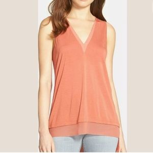 Trouve V-neck Mixed Media Top